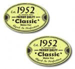 PAIR Distressed Aged Established 1952 Aged To Perfection Oval Design Vinyl Car Sticker 70x45mm Each